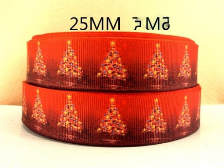 1 METRE OF RED CHRISTMAS XMAS TREE RIBBON SIZE 1 INCH BOWS HEADBANDS CARD MAKING
